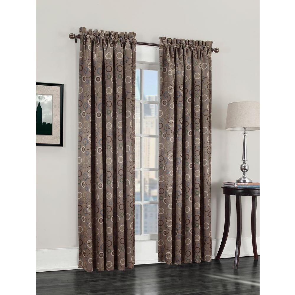 Sun Zero Semi Opaque Taupe Galloway Room Darkening Curtain Panel 54 In W