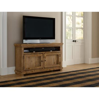 Willow 54 in. Distressed Pine Wood TV Stand Fits TVs Up to 60 in. with Storage Doors
