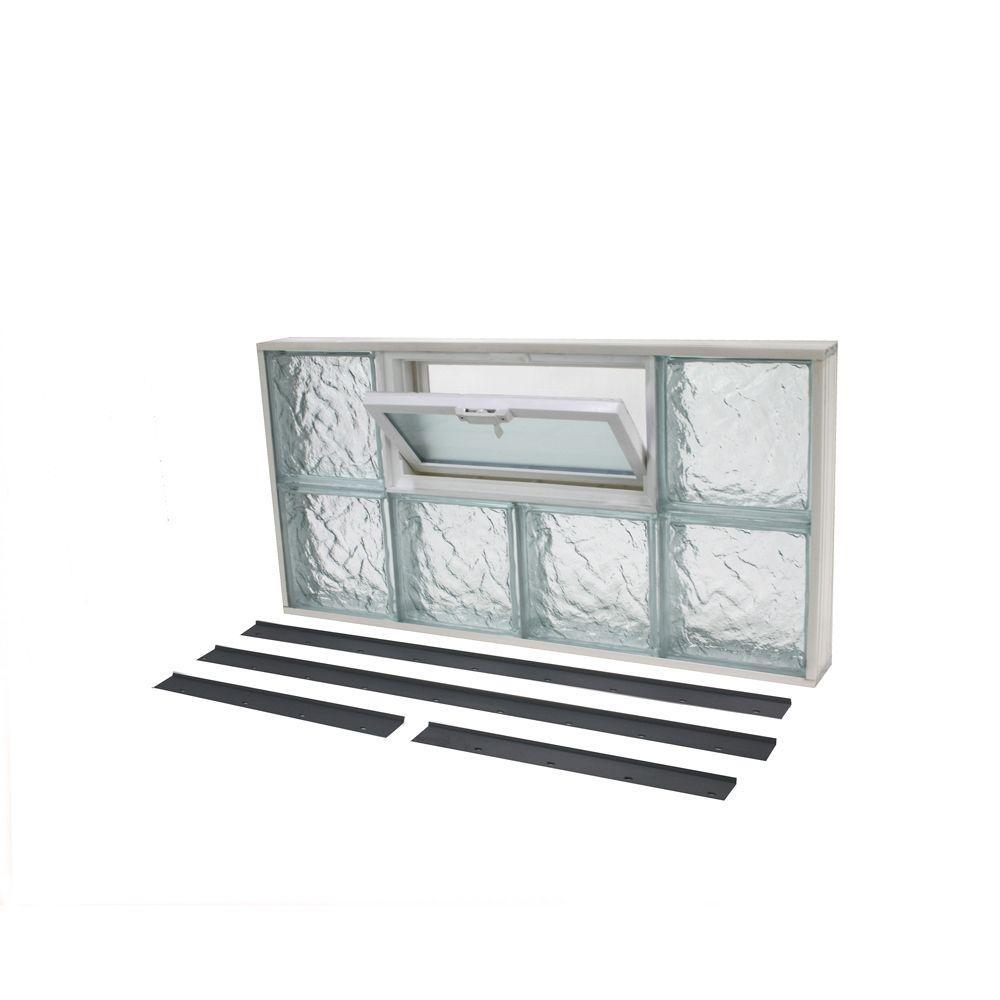 TAFCO WINDOWS 31.625 in. x 15.875 in. NailUp2 Ice Pattern Glass Block Window