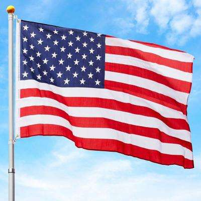 3 ft. x 5 ft. American Patriot National U.S.A / US Flag with 25 ft. Telescoping Aluminum Flagpole Kit