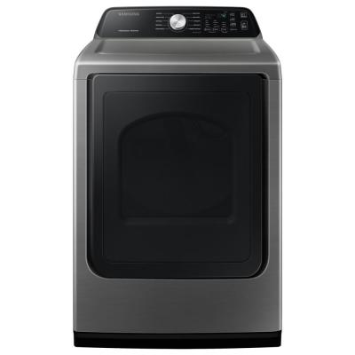 Large 7.4 cu. ft. Capacity Platinum Top Load Electric Dryer with Sensor Dry
