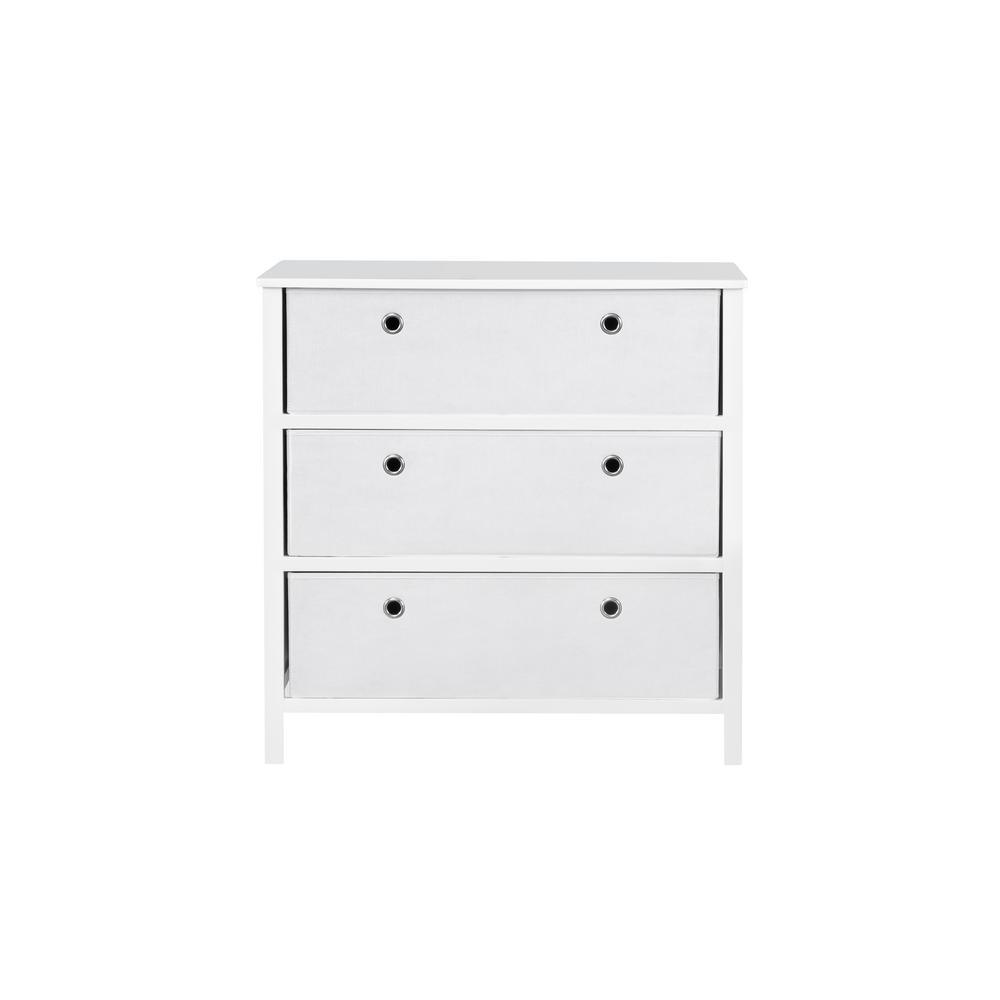 Achim Ez Home Solutions White 3 Drawer Foldable Single Dresser