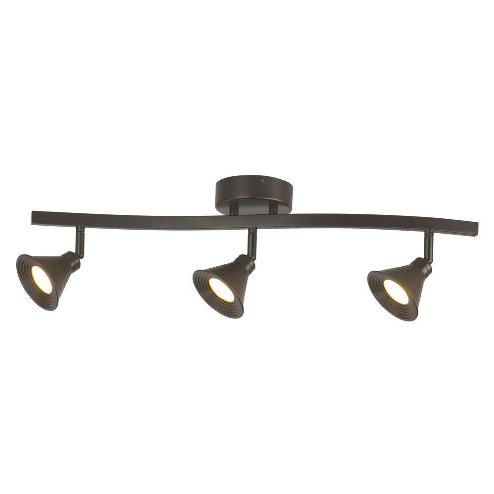 Hampton Bay 3 Light Bronze Directional Ceiling Track: Hampton Bay 3-Light LED Hammered Shade Directional Track
