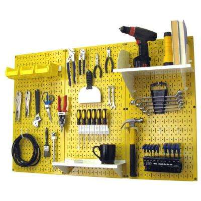 32 in. x 48 in. Metal Pegboard Standard Tool Storage Kit with Yellow Pegboard and White Peg Accessories