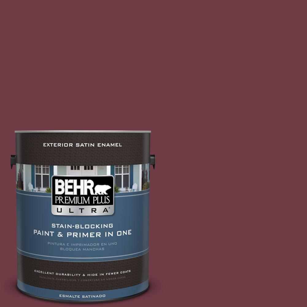 BEHR Premium Plus Ultra 1-gal. #BXC-90 Wild Cranberry Satin Enamel Exterior Paint