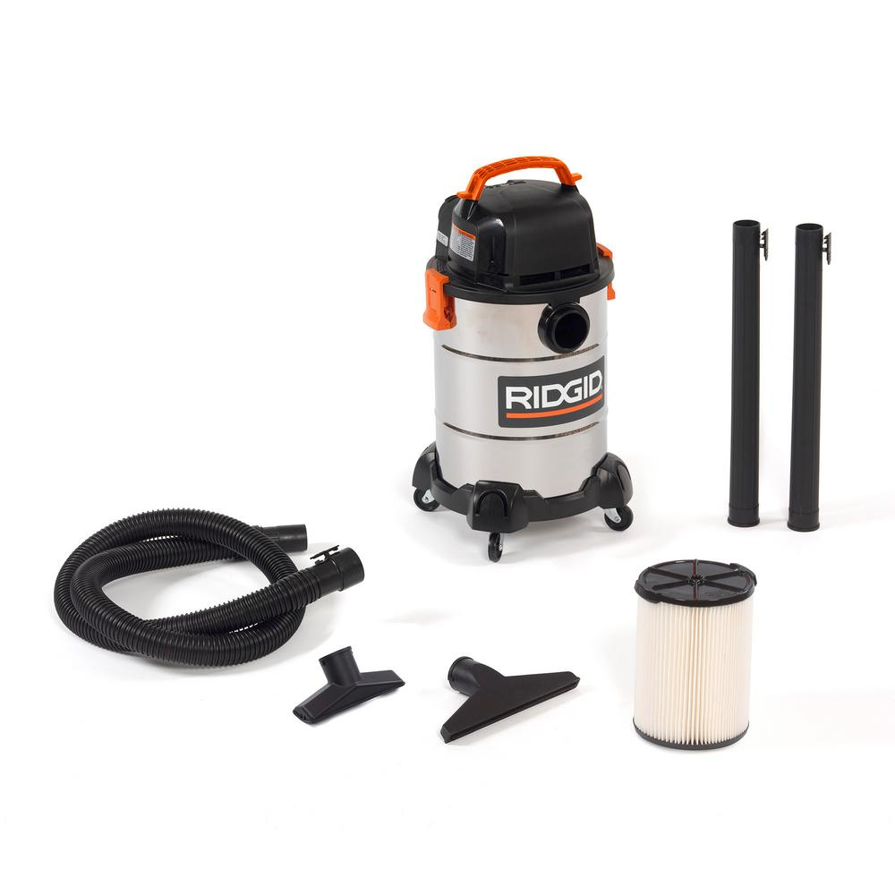 RIDGID 6 Gal. 4.25-Peak HP Stainless Steel Wet/Dry Shop Vacuum with Filter, Hose and Accessories
