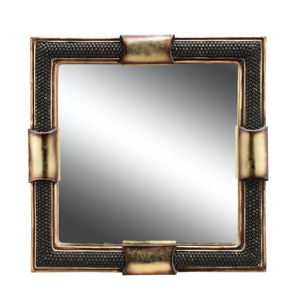 Beaded Stone Black Decorative Mirror