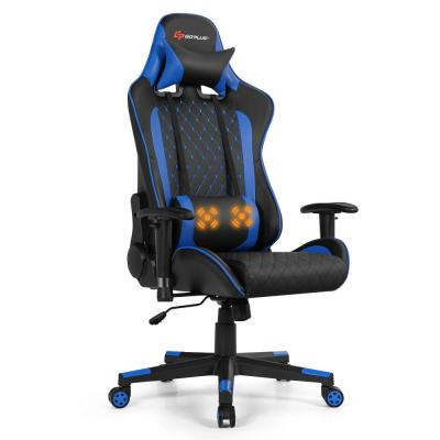 Black and Blue Massage Gaming Chair with Lumbar Support and Headrest