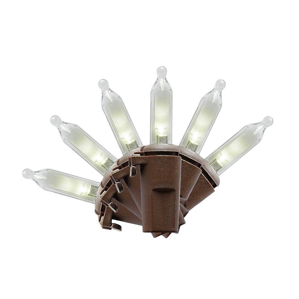 100-Light LED Smooth Mini Warm White Garden String Light on Brown