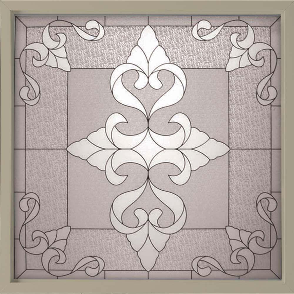 Hy-Lite 49.75 in. x 49.75 in. Decorative Glass Fixed Vinyl Window - Tan