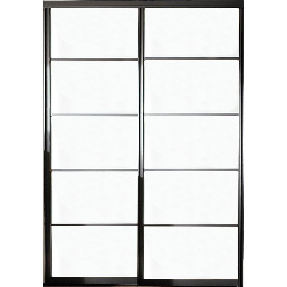 Silhouette 5 Lite Aluminum Bronze Finish Interior Bypass Sliding Door