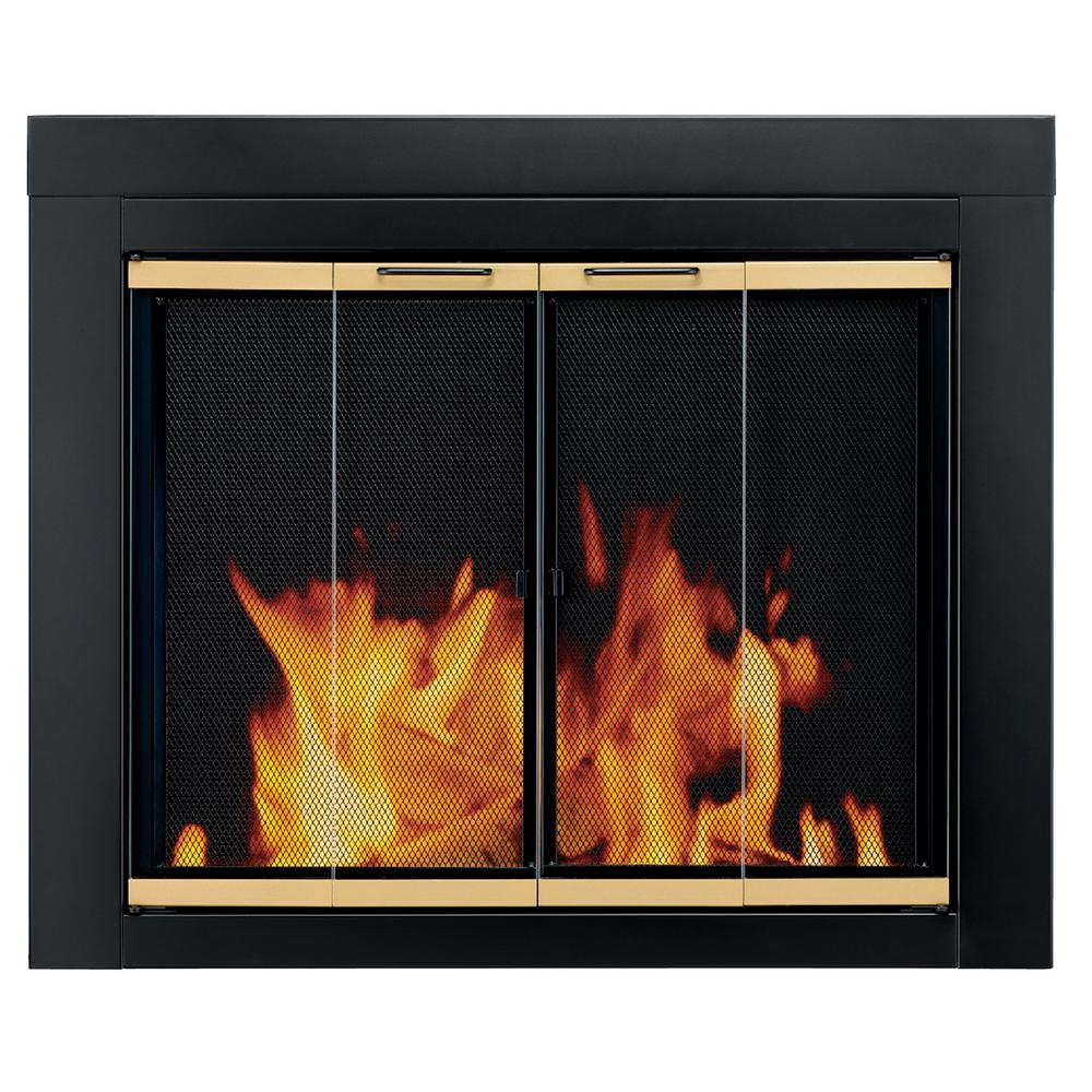 Pleasant Hearth - Arrington Medium Glass Fireplace Doors - This item features a decorative bifold-style door and helps in reducing heat loss or cool air loss up to 90 percent. Comes with grip handles and hidden damper control knobs.