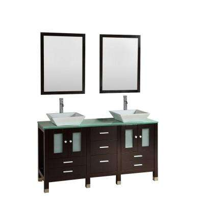 Cassiel 60 in. Double Vanity in Espresso with Glass Vanity Top in Aqua and Mirror