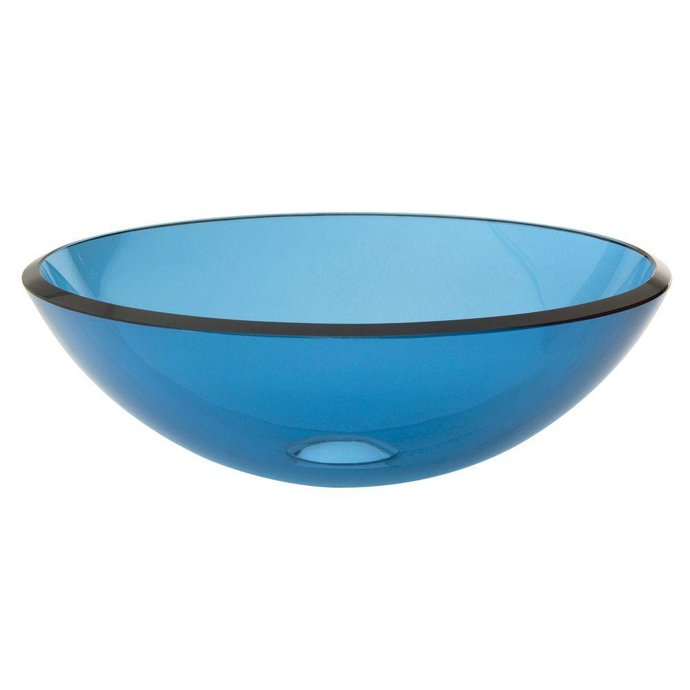 DECOLAV Translucence Above-Counter Round Tempered-Glass Vessel Sink in Transparent Blue - DISCONTINUED