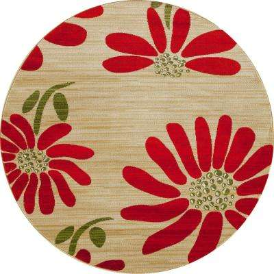Antigua Spring Daisy Beige 8 ft. x 8 ft. Round Area Rug
