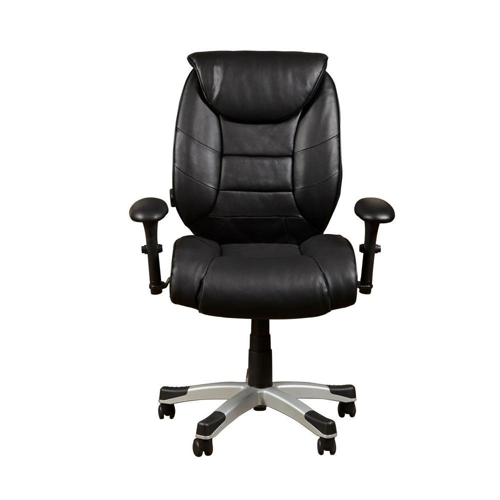bovina black leather memory foam office chair