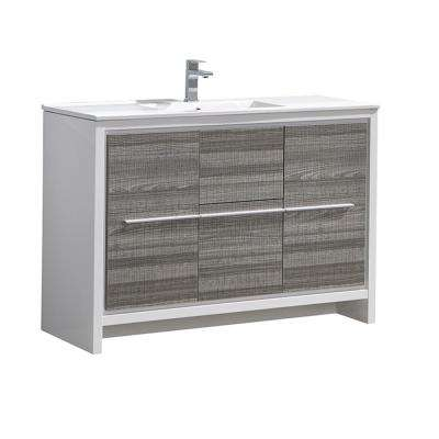 Allier Rio 48 in. Modern Bathroom Vanity in Ash Gray with Ceramic Vanity Top in White
