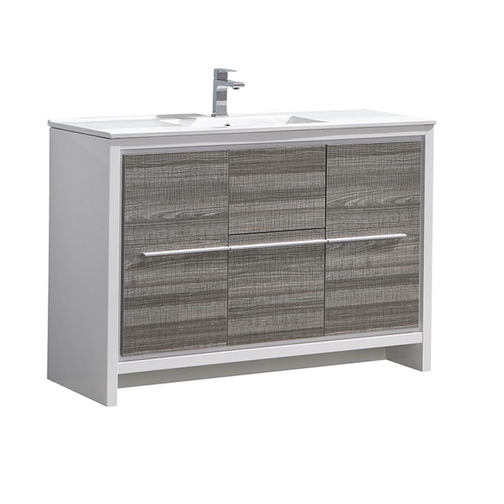 Allier Rio 48 in. Modern Bathroom Vanity in Ash Gray with Ceramic Vanity Top in White