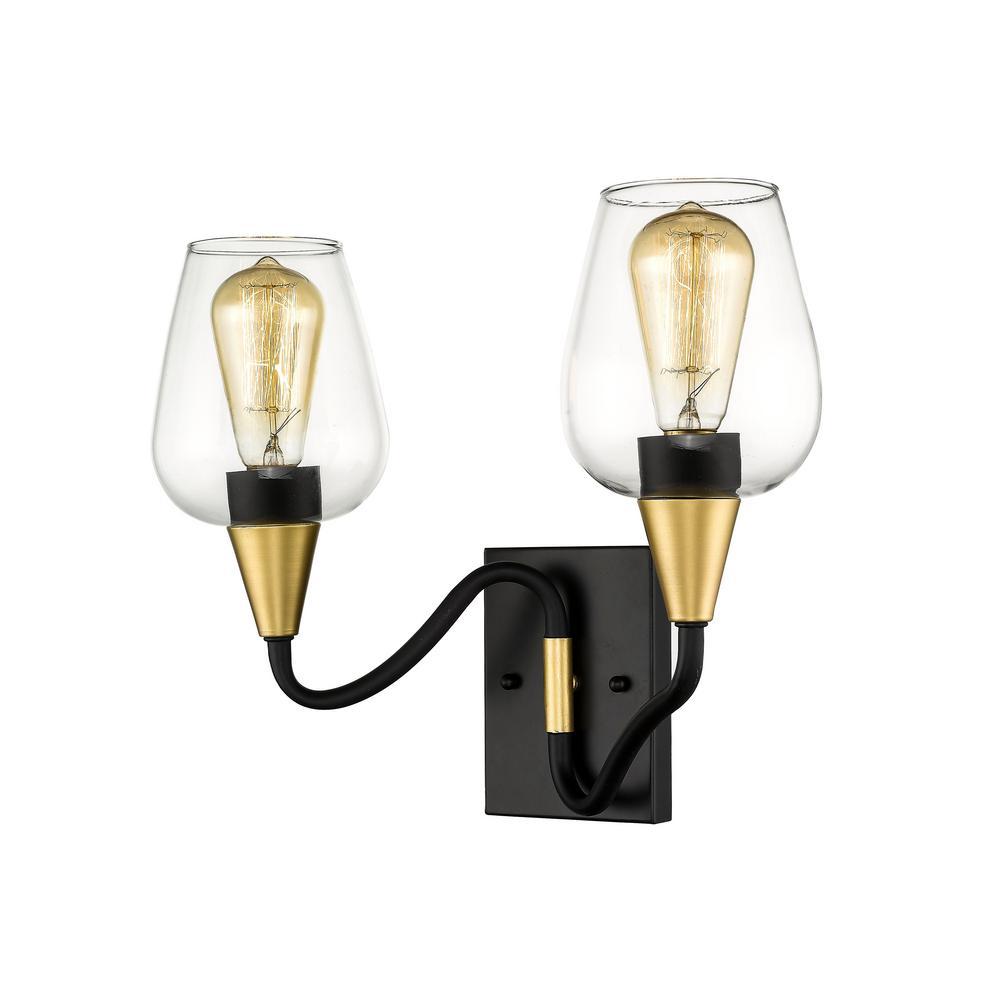 15 in. Norwalk 2-Light Wide Matte Black/Gold Bathroom Vanity Light