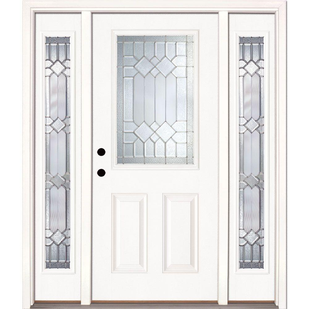 Feather River Doors 63.5 in.x81.625 in. Mission Pointe Zinc 1/2 Lite Unfinished Smooth Right-Hand Fiberglass Prehung Front Door w/ Sidelites