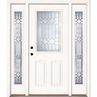 63.5 in.x81.625 in. Mission Pointe Zinc 1/2 Lite Unfinished Smooth Right-Hand Fiberglass Prehung Front Door w/ Sidelites