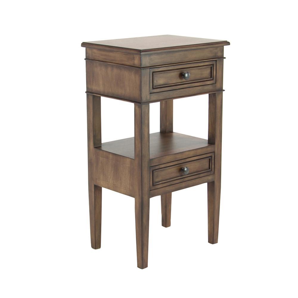 Rustic Brown 2-Drawer Side Table