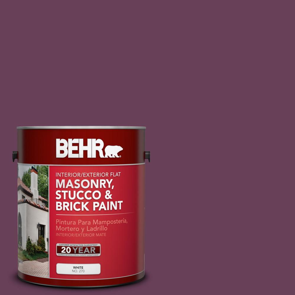 BEHR 1 gal. #PPU1-20 Spiced Plum Flat Interior/Exterior Masonry ...