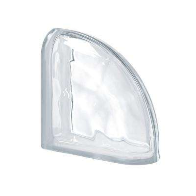 Pegasus Neutro 7.48 in. x 7.48 in. x 3.15 in. Wavy Pattern End Curved Glass Block