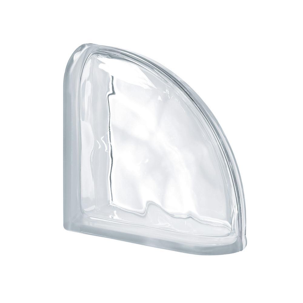Seves Pegasus Neutro 7.48 in. x 7.48 in. x 3.15 in. Wavy Pattern End Curved Glass Block