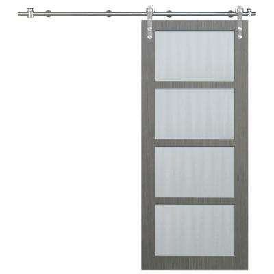 36 in. x 84 in. 4-Lite Driftwood Clear Coat Interior Barn Door with Round Stainless Steel Sliding Door Hardware Kit