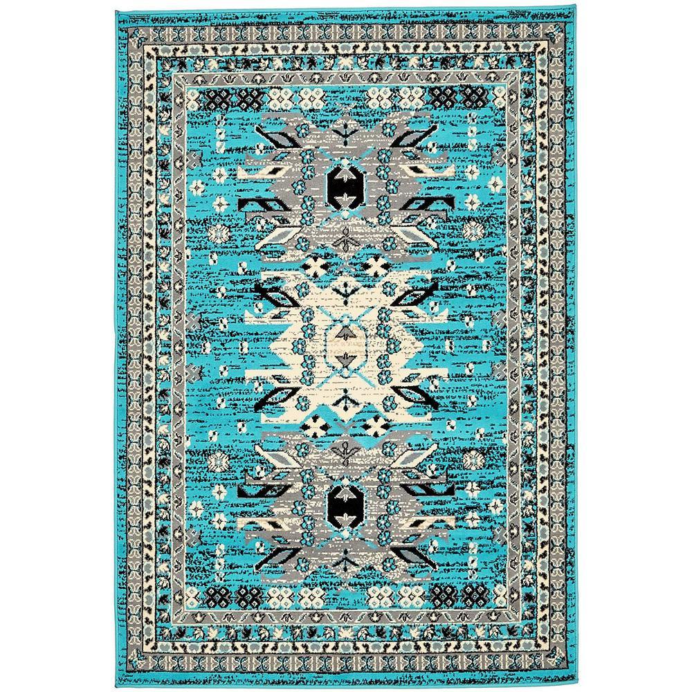Taftan Oasis Turquoise 4' 0 x 6' 0 Area Rug