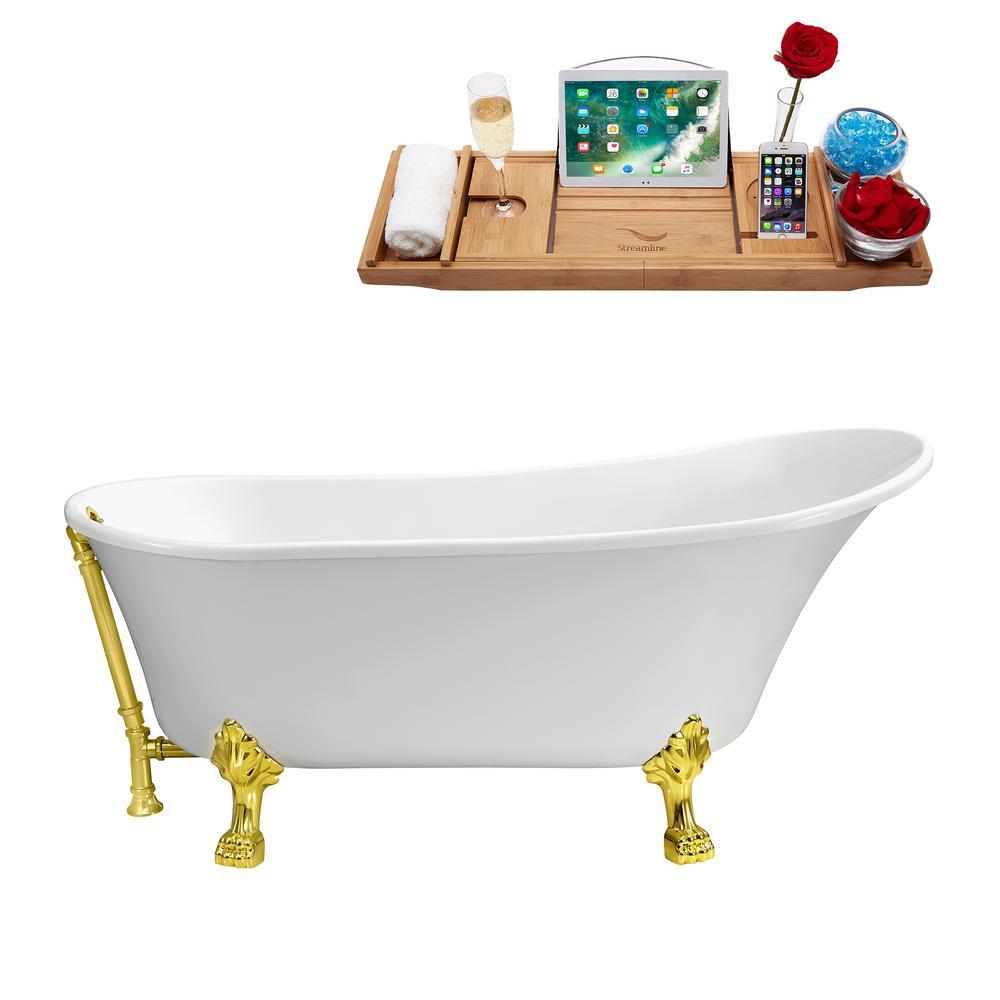 66.9 in. Acrylic Clawfoot Non-Whirlpool Bathtub in White