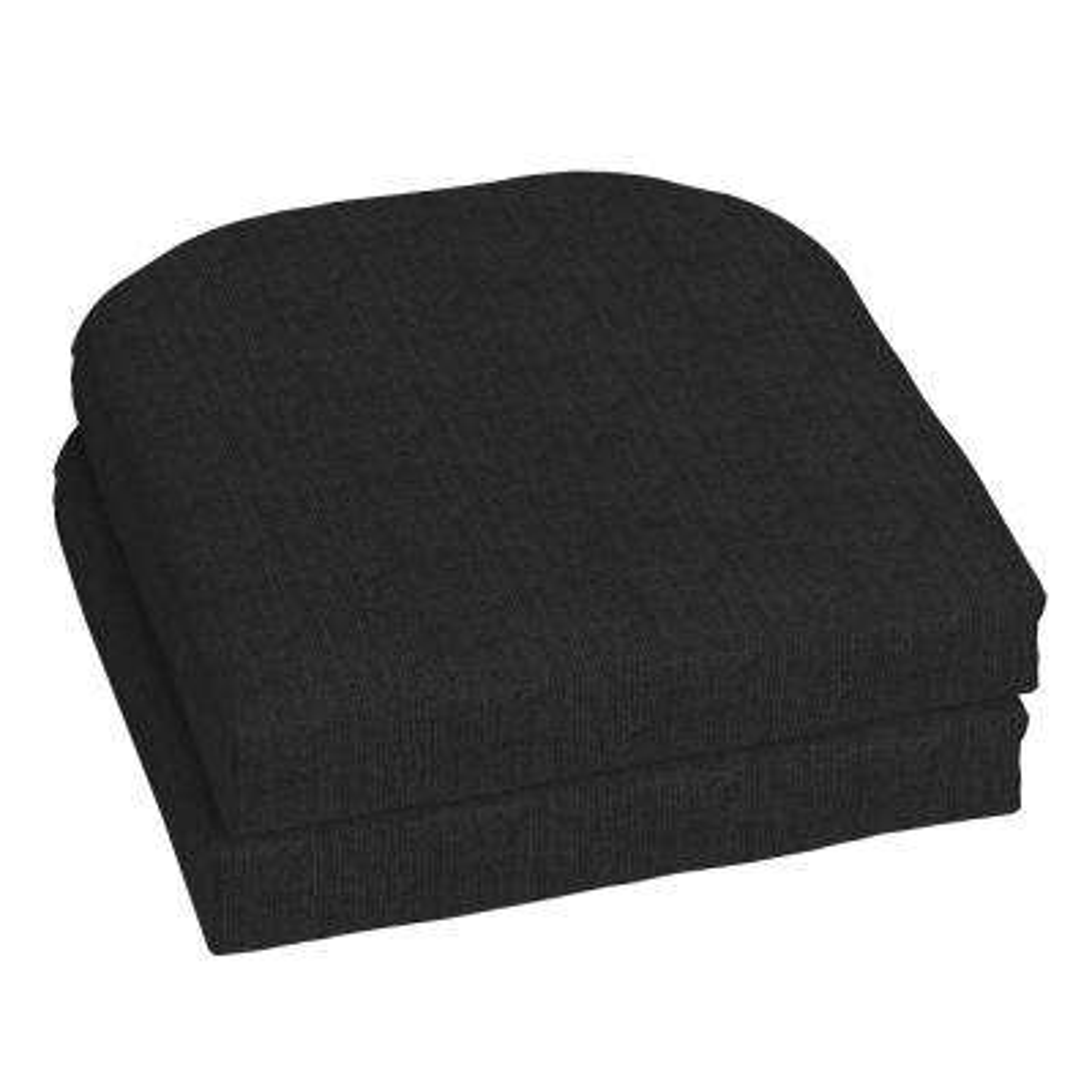 18 x 18 Sunbrella Canvas Black Outdoor Chair Cushion (2-Pack)