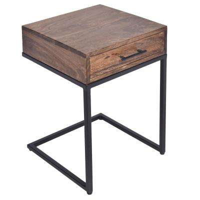 Brown and Black Mango Wood Side Table with Drawer and Cantilever Iron Base