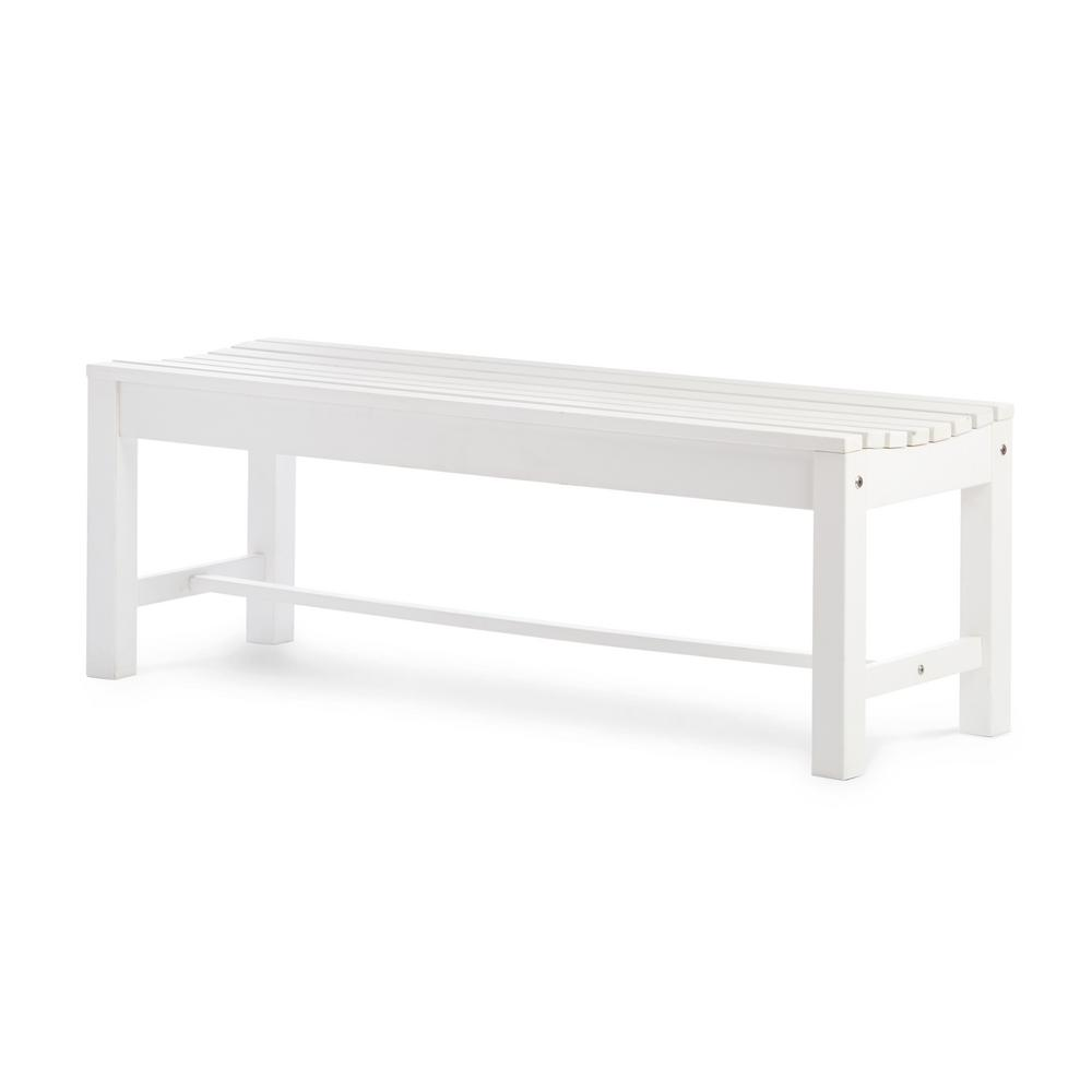 Fine Shine Company 4 Ft Backless Recycled Plastic Outdoor Bench White Ibusinesslaw Wood Chair Design Ideas Ibusinesslaworg