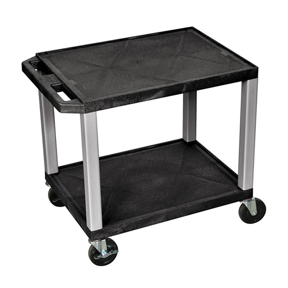 WT 26 in. H Cart with 2-Shelves, Black Shelves Nickel Legs