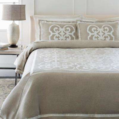 Avaline Light Gray Full/Queen Duvet Set