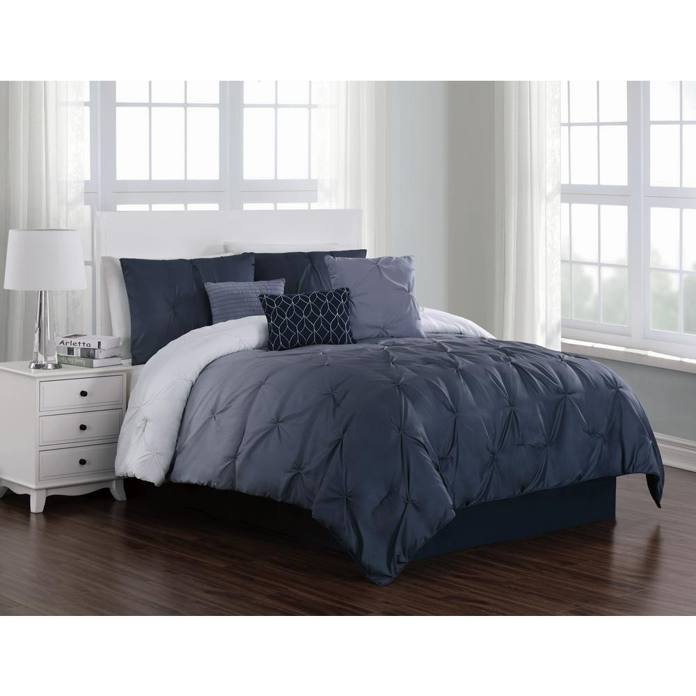 Bergen Ombre 7 Piece Blue Queen Comforter Set
