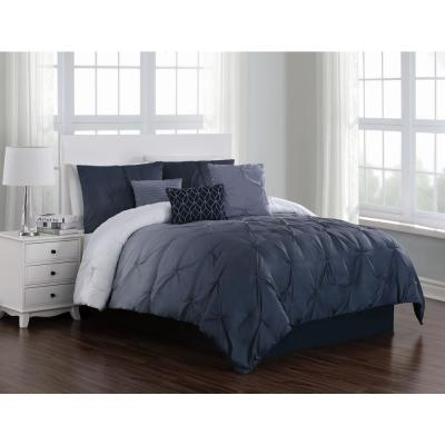 Bergen 7-Piece Blue Queen Comforter Set