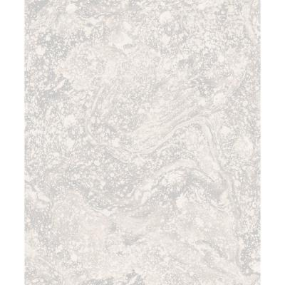 Infused Cream and Silver Foil Marble Wallpaper