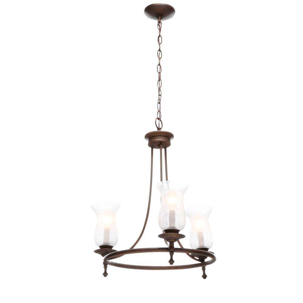Hampton Bay Grace 3-Light Rubbed Bronze Chandelier with Seeded Glass Shades