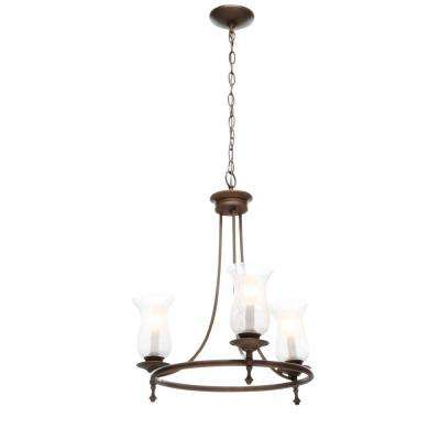 Grace 3-Light Rubbed Bronze Chandelier with Seeded Glass Shades