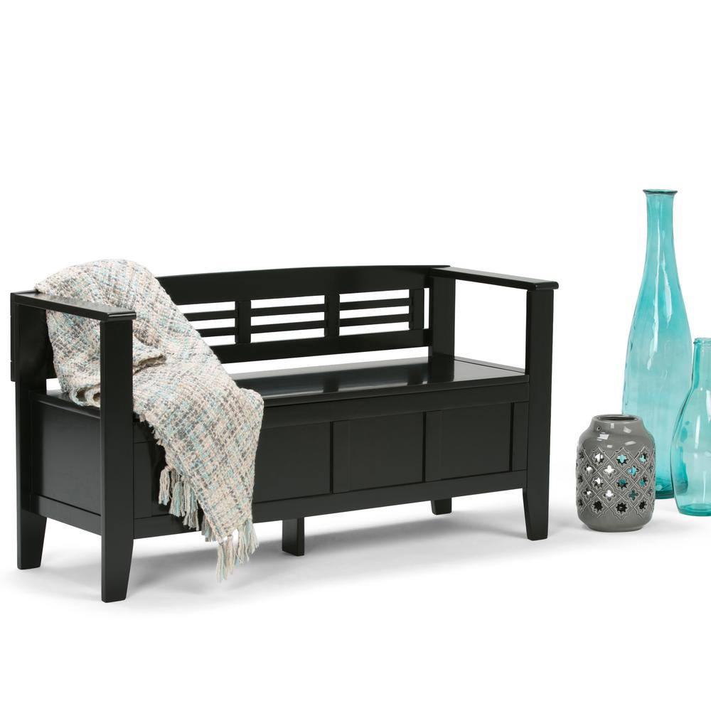 Simpli Home Adams Black Storage Bench-3AXCADABEN-B - The Home Depot
