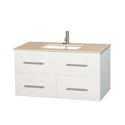 Centra 42 in. Vanity in White with Marble Vanity Top in Ivory and Undermount Square Sink
