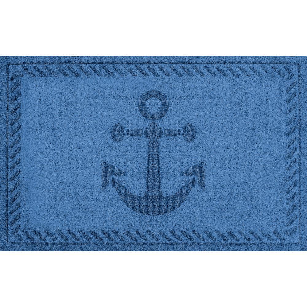 Medium Blue 24 in. x 36 in. Ships Anchor Polypropylene Door Mat