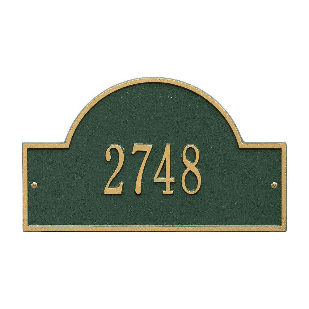 Whitehall Products Arch Marker Standard Green/Gold Wall 1-Line Address Plaque