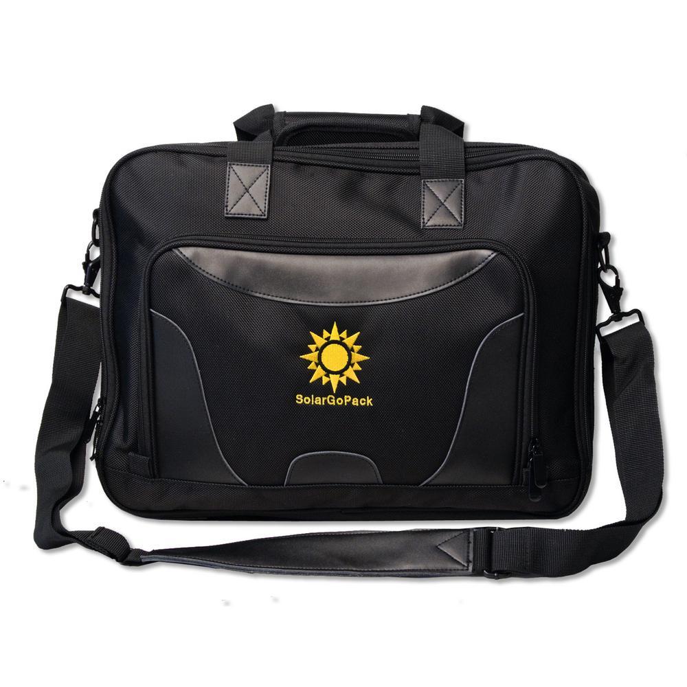 Pro Nylon Briefcase, 10k mAh battery, 7-Watt Solar Panel in Black