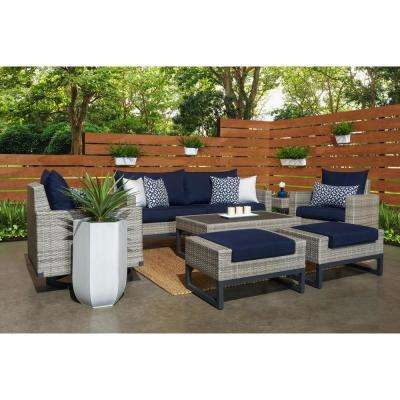 Milo Grey 7-Piece Wicker Motion Patio Deep Seating Conversation Set with Sunbrella Navy Blue Cushions