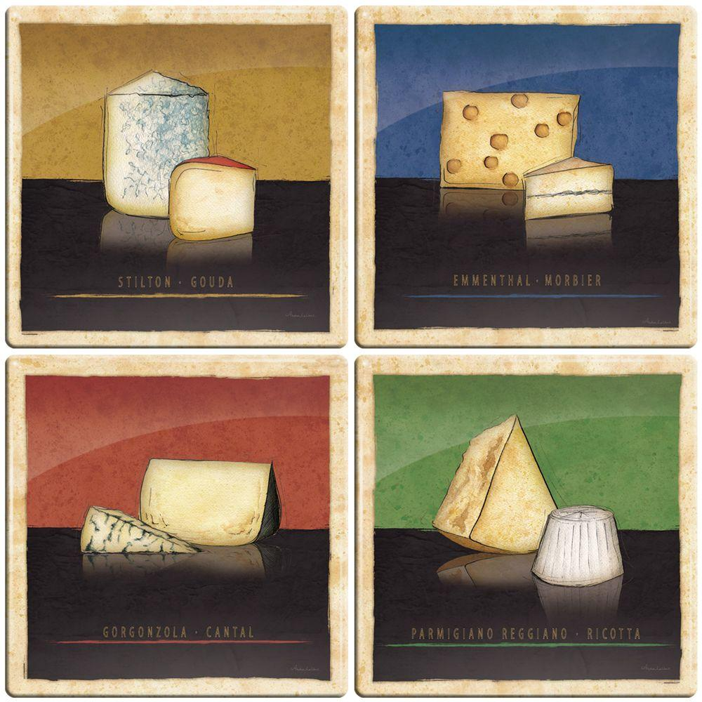 Smart Tiles 3-11/16 in. x 3-11/16 in. Cheeses Gel Tile Multi-Colored Decorative Wall Tile (4-Pack)-DISCONTINUED