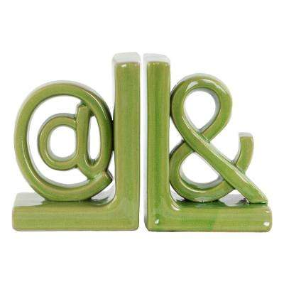 8 in. H Alphabet Decorative Sculpture in Green Gloss Finish
